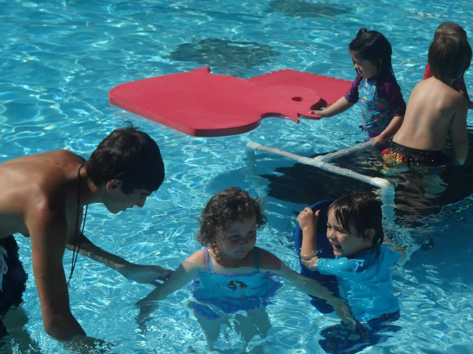 Even instructional swim is fun when the sun is shining.