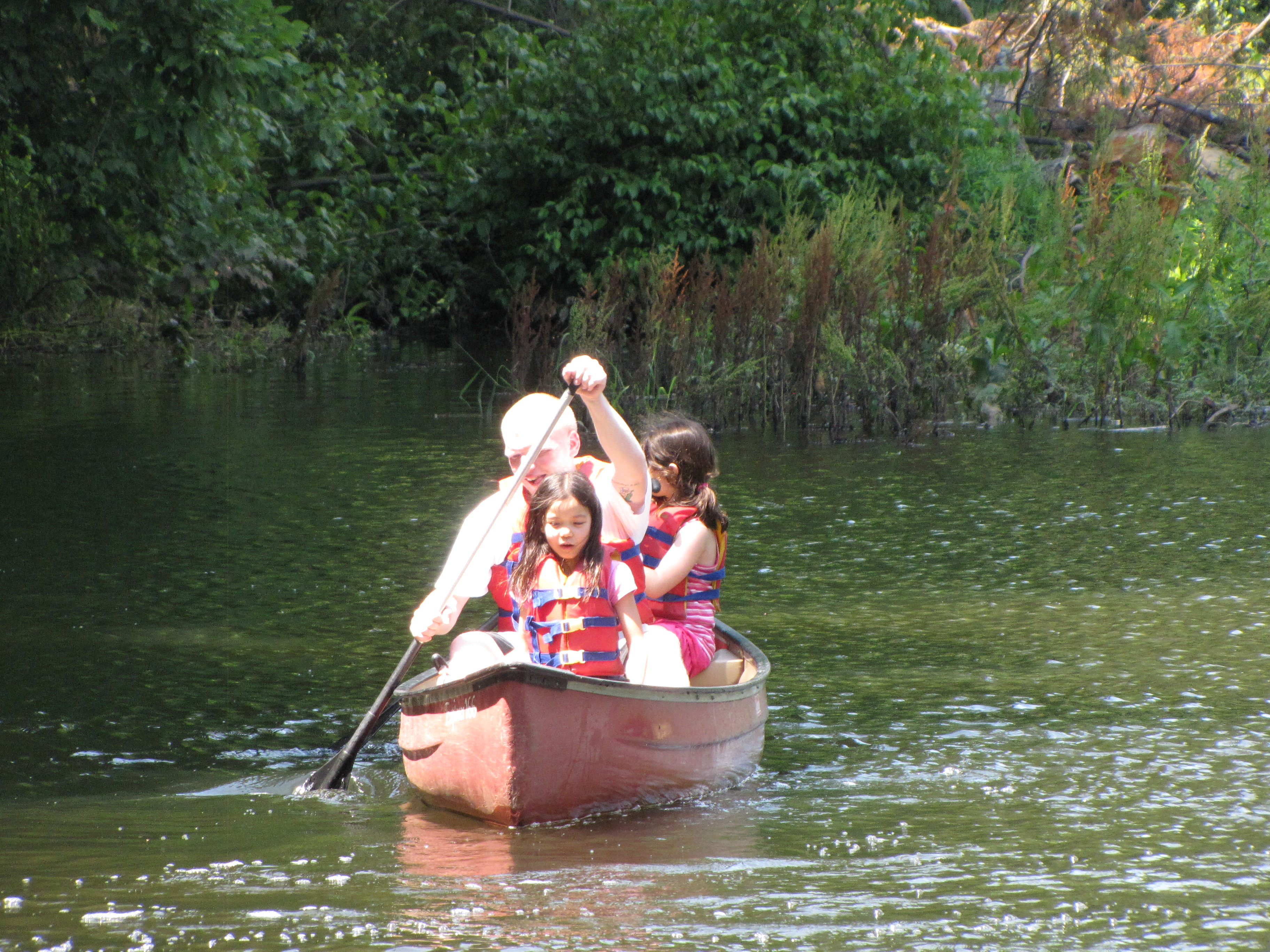 Canoeing on the lake.